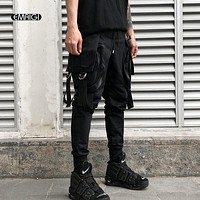 Men Big Pockets Casual Cargo Pants Male Fashion Hip Hop Punk Harem Pants Jogger Sweatpants Black Street Wear Trousers