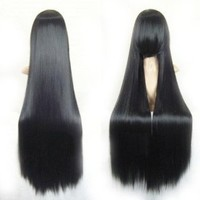 """Cool2day® 40"""" Long Straight Hair Costume Play Party Full Wig+Wig Cap (Black) JF66"""