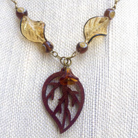 Leaf Necklace, Leaf Jewelry, Fall Necklace, Fall Jewelry, Autumn Necklace, Autumn Jewelry, Leaves, Fall Leaves, Fall, Autumn Leaves, Autumn