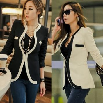 White Black Color Blocking Long Sleeve Womens Suits Blazer Outwear Tops Pockets