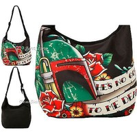 Licensed cool NEW BOBA FETT STAR WARS Cross Over Hobo Bag Purse He's No Good to Me Dead  Text