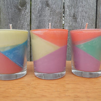 3 mini colorblock candles, fruty scented candles, gift set, ready to ship!