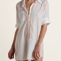 Subtle Luxury Embroidered Shirt Cover-Up