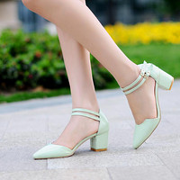 Women's Pumps Pointed Toe High Heels Thick Heel Dress Shoes