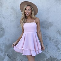 Cheers To That Skater Dress in Pastel Pink
