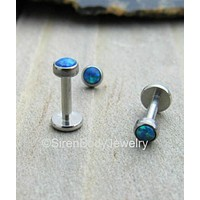 "Blue green opal flat back labret stud 16g 5/16"" internally threaded titanium 3mm stone"