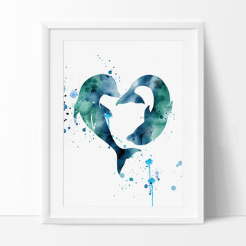 Dolphins Watercolor Print, Love Dolphins Print, Dolphin Watercolor Poster, Art, Dolphins Poster, Wall art, Artwork, Painting (142)