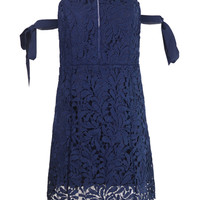 Navy Blue Bardot Tie Sleeve Cutwork Lace Ladder Mini Dress