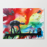 Star Wars + Dr. Who Stretched Canvas by Robert Copithorne