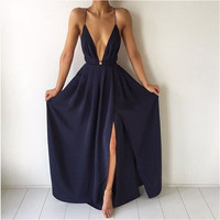Deep V Neck Dark Navy Blue Maxi Evening Dress