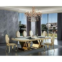 Luxurious Contemporary Marble Top Gold Stainless Steel Dining Table