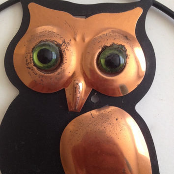 Coppercraft Owl with Hanging Hooks