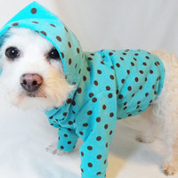 FREE SHIPPING RockinDogs Turquoise and Brown Polkadot Knit Hoodie for Dogs