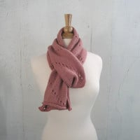 Wool Scarf & Earwarmer Headband, Rose Pink, Knitted, Muffler Wrap, Gift for Her