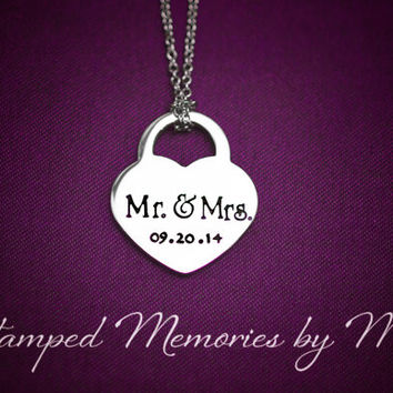 Mr. & Mrs. - Wedding Date - Hand Stamped Stainless Steel Heart Lock Necklace - Anniversary, Engagement, Marriage Jewelry - Personalized Gift
