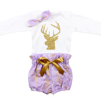 Purple and Gold Vintage Deer Bloomer outfit, baby bloomer outfit, baby newborn outfit, photo prop outfit