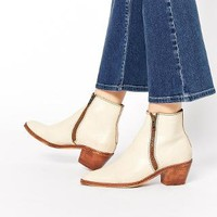 H By Hudson | H by Hudson Azi Off White Leather Ankle Boots at ASOS