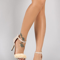 Suede Faux Fur Band Single Sole Ankle Strap Heel
