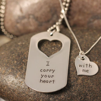 Custom Hand Stamped Matching Necklaces Set I carry your heart with me