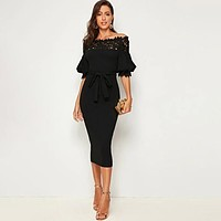Solid Bodycon Sexy Guipure Lace Yoke Puff Sleeve Pencil Belted Dress