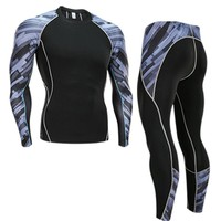 Men's Compression Run jogging Suits Clothes Sports Set Long t shirt And Pants Gym Fitness workout Tights clothing Sets