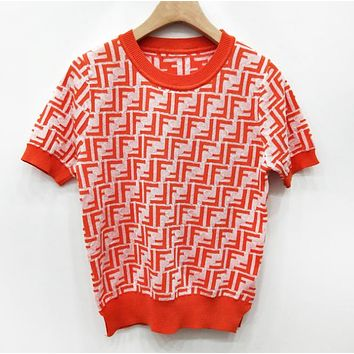 Fendi Fashion New Summer More Letter Leisure Top Women Red