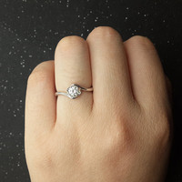 Custom made 1ct Brilliant Moissanite Solitaire Engagement ring White gold,wedding band,14k,Round Cut,Gemstone Promise Ring,Unique Flower