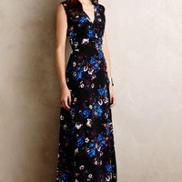 Yumi Kim Arcadia Silk Maxi Dress in Blue Motif Size: