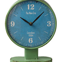 Retro 1984 Green and Blue London Table Desk Clock - 10-1/4-in