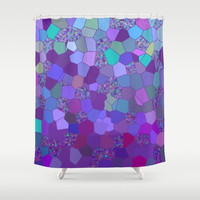 Purple Shower Curtain -  Abstract mosaic fabric Shower curtain, Blue teal, abstract , art, bathroom decor