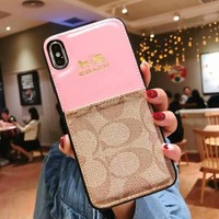 COACH Newest Fashionable Women Men Luxury Card Mobile Phone Cover Case For iphone 7plus 8 8plus X XsMax XR Pink