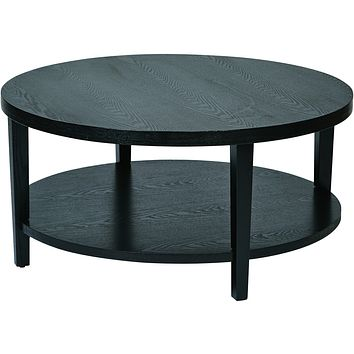 "Merge 36"" Round Coffee Table, Black Finish"