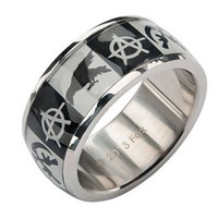 """SOA """"ANARCHY, CROW AND GUNSIKCLE LOGO"""" RING BY INOX JEWELRY"""