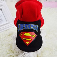 Superman Pet Dog Coats Puppy Clothes for Small Dog Costumes Winter Warm Hoodies Chihuahua Ropas para Cachorro 3