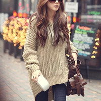 Fashion Round Neck Knit Hooded Sweaters