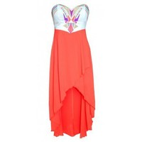High Low Strapless Dress with Cutout Tribal Pattern Top