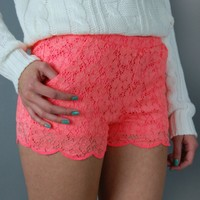 Lace Scalloped Shorts