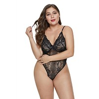 Sweet Floral Plus Size Teddy Lingerie
