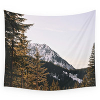 Society6 Snow Mountain In The Trees Wall Tapestry