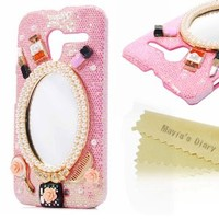 Mavis's Diary for Motorola Moto X XT1055 Crystal Fashion Mirror Pearl Diamond Rhinestone Design Bling Hard Pink Cover Case with Soft Clean Cloth