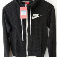 """NIKE"" Leisure Women Hooded Sweatshirt Jacket Black"