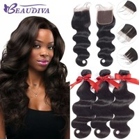 Beaudiva Body Wave Bundles With Closure Brazilian Human Hair Weave 3 Bundles With 4x4 Lace Closure Body Wave Hair Extension
