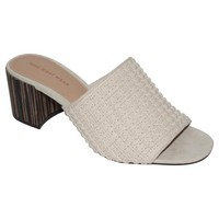 Women's Felicity Macrame Strap Block Heel Slide Sandals Who What Wear™ - Cream 6
