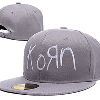 HAIHONG Korn Band Logo Adjustable Snapback Embroidery Hats Caps - Grey