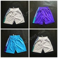 2017 Basketball Shorts Charlotte Men Green Purple White Team 15 Kemba Walker Short Pant Breathable All Stitched Running Short Quality