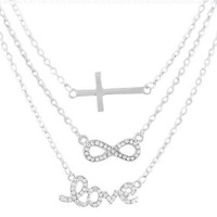 Silvertone with Clear Iced Out Cross, Infinity & Love Pendant Three Adjustable Link Chain Necklace