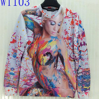 FG1509 [Mikeal] Colorful paint sexy naked Beauty print 3d Sweatshirt For men/women Newest Fashion Cotton Hoodies Novelty Tops