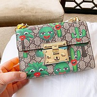 Gucci Square Lock Chain Bag Cactus  Khaki Bag Messenger Bag
