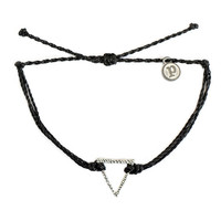 Silver Hammered Triangle Black