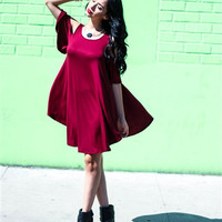 Burgundy Lyss Loo Open Shoulder Over Sized Tunic Dress